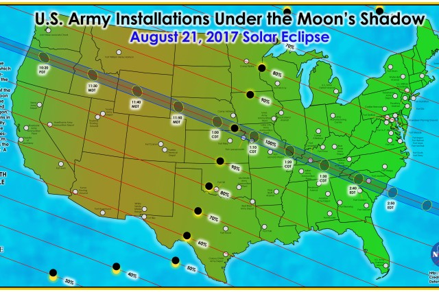 On Monday, Aug. 21, the United States will experience a solar eclipse, where the moon passes between the sun and the Earth. For Soldiers on some Army installations, the entire sun will appear to vanish for a few minutes, and during that time they will experience total darkness. For other Soldiers, the moon will only partially obscure the sun.