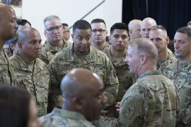 Maj. Gen. Timothy Williams, adjutant general of Virginia and Virginia National Guard commander, speaks with members of Task Force Echo at the McGill Training Center on Fort Meade, Md., Aug. 15, 2017.