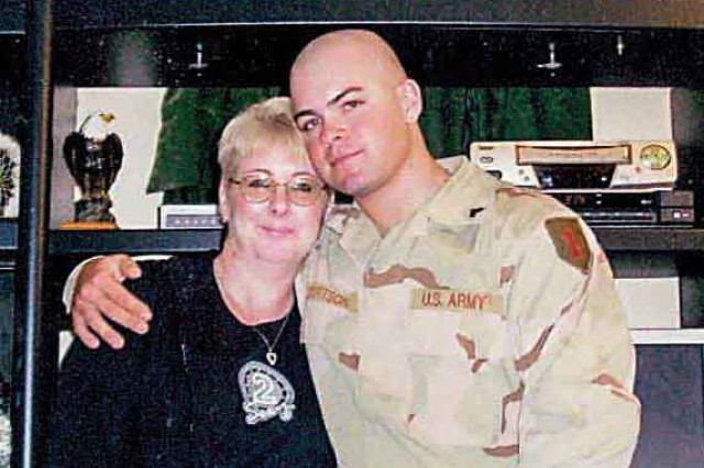 Keeley Frank, left, lost her son Sgt. Kevin Gilbertson, right, of the 1st Battalion, 77th Armor Regiment, 2nd Brigade Combat Team, 1st Infantry Division, in Aug. 2007 in Ramadi, Iraq. With the help of senior 1st Inf. Div. leadership and the Fort Riley Survivor Outreach Services, Frank made the journey from solitary mourning to her rightful place in the Army family.
