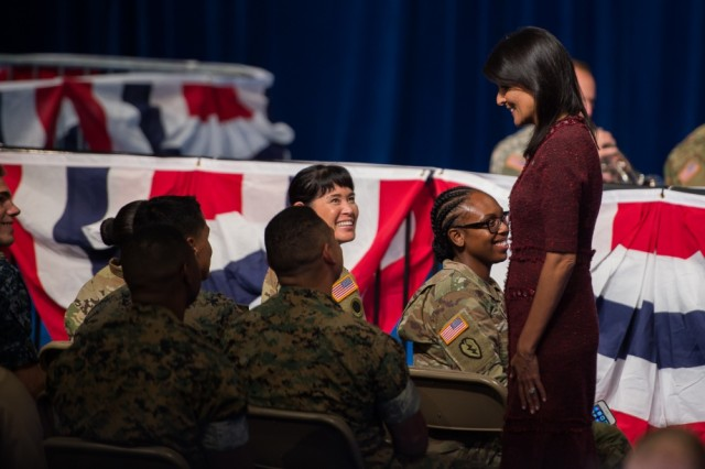 United States Ambassador to the United Nations Nikki Haley speaks with service members before President Donald J. Trump addressed the nation on the South Asia strategy at Conmy Hall on Fort Myer, Virginia, Aug. 21, 2017.