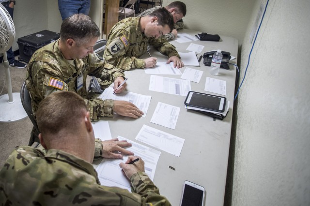 101st Attack Reconnaissance Battalion pilots fill out post-mission surveys (nearest to furthest): Capt. Aaron Hooper (Company Commander), Chief Warrant Officer 3 Lance Mundo (Safety Officer), Chief Warrant Officer 2 Ryan Swets (Pilot), and 1st Lt. Zachary Bell (Platoon Leader). Soldiers generate the data gathered by U.S. Army Operational Test Command for analysts to provide reports to the Army Evaluation Center that ultimately informs the Army's acquisition leadership.