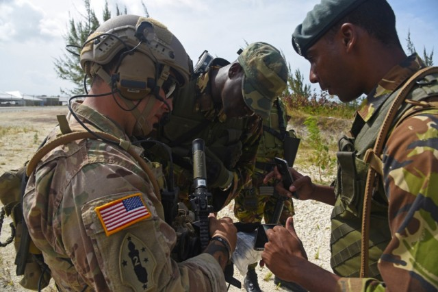 A U.S. Soldier partners with a Barbadian Defence Force member in a joint exercise earlier this year. PANAMAX 2017 is a continuation of exercises in South and Central America that enhances the Army's interoperability with partner nations in the area.