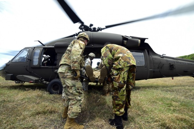 A U.S. Soldier partners with a Central American service member in a joint medevac exercise earlier this year. PANAMAX 2017 is a continuation of exercises in South and Central America that enhances the Army's interoperability with partner nations in the area.