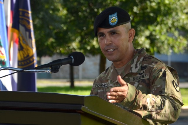 Command Sgt. Maj. Marco A. Torres addresses members of the Mission and Installation Contracting Command and guests during an assumption-of-responsibility ceremony Aug. 23, 2017, at Joint Base San Antonio-Fort Sam Houston, Texas. As the new MICC command sergeant major, Torres received the organizational colors from Col. William M. Boruff, the MICC commander, during the ceremony.