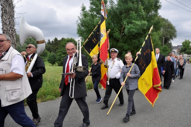 The garrison chaplains joined the local community in honoring the 75th anniversary of Belgian Air Force Lt. Col. Joseph Daumerie's death Aug. 15, 2017, in Brugelette, Belgium. The garrison's caserne is named after the war hero who died in 1942. The audience visited the war memorial, Daumerie's grave and street plaque in addition to attending a ceremony at a nearby school.