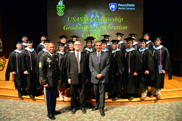 The members of Cohort #2 of the U.S. Army Sergeants Major Academy Fellowship Program pose for a group picture with Command Sgt. Maj. Jimmy Sellers, commandant of USASMA, Dr. James Diehl and Dr. Gregory Kelly of Pennsylvania State University following the graduation celebration Aug. 22. The 20 sergeants major spent the last year earning their Master's Degree in Lifelong Learning and Adult Education from Pennsylvania State University's World Campus. The graduates will now spend three years at USASMA instructing in the Sergeants Major Course, work in curriculum development or assumes other duties within USASMA in support of the NCO 2020 Strategy.