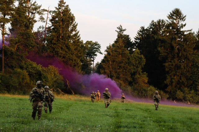 Soldiers of 3rd Armored Brigade Combat Team, 4th Infantry Division patrol their sector during Exercise Combined Resolve IX at the Grafenwoehr Training Area, Germany, Aug. 23 2017. Exercise Combine Resolve IX is designed to train the Army's Regionally Allocated Forces to the U.S. European Command. The goal of the exercise is to prepare forces in Europe to operate together to promote stability and security in the region.