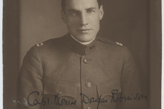 "Capt. Monroe Douglas Robinson, a 1909 Harvard graduate, was the commander of Company B of the 77th Division's 302nd Ammunition Trains. The U.S.N.A appreviation on the photograph indicates that it was ""National Army"" unit, composed of men who were drafted and not members of the Regular Army or National Guard at the start of World War I. The 77th Division was filled mainly with New York City residents. ( Vion Joseph Dunkly Collection, New York State Military Museum)"