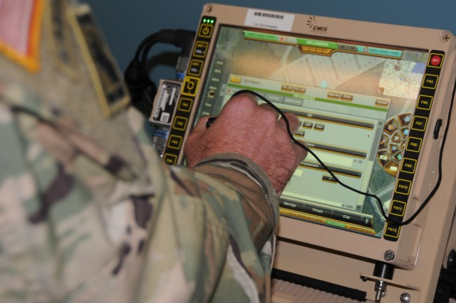 A Soldier uses the capabilities of the Joint Battle Command-Platform inside a combat vehicle. Recognizing high demand for the systems and significant impact on operations, Army Forces Command requested an accelerated pace to reach all Active, Reserve and National Guard units with completion no later than 2024, two years ahead of the initial timeline.