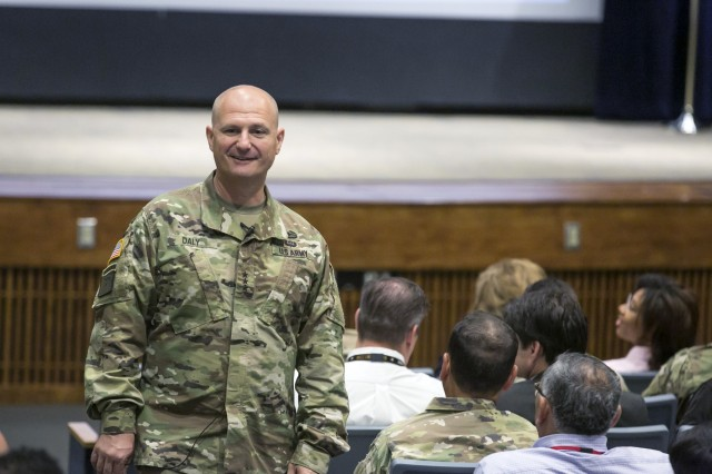 U.S. Army Lt. Gen. Edward Daly, Army Materiel Command deputy commanding general, addresses attendees to the Logistical Support Activity training forum at Redstone Arsenal, Alabama, Aug. 23, 2017. The forum facilitated the exchange of information and allowed the discussion of current topics affecting Army logisticians. (U.S. Army photo by Sgt. 1st Class Teddy Wade)
