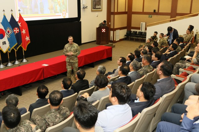 Lt. Gen. Thomas S. Vandal, Eighth Army commanding general speaks to members of the National Defense Committee, the National Assembly of the Republic of Korea during their visit their visit to Eighth Army headquarters at Camp Humphreys in Pyeongtaek, South Korea, Aug. 23. The visit provided the NDC with an understanding of U.S. Forces Korea transformation and an overview of the Eighth Army's missions on the peninsula.