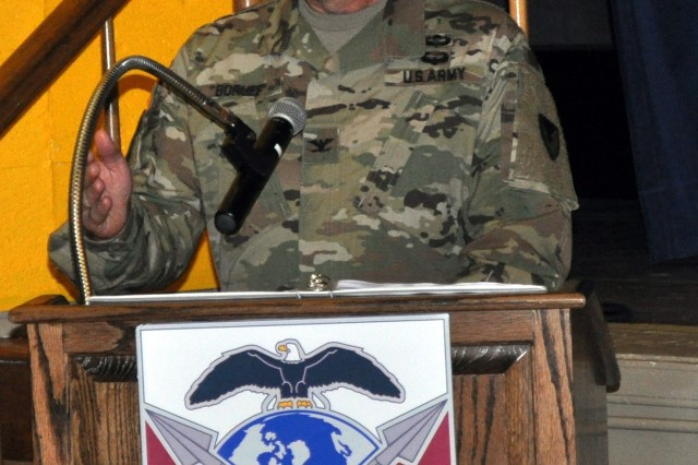 Col. William Boruff addresses members of the 419th Contracting Support Brigade, military leaders and families attending a change-of-command ceremony Aug. 25 at Fort Bragg, North Carolina. Boruff officiated the ceremony in which Col. Brad Hodge took command of the brigade from Col. Carol Tschida. Boruff is the commander of the Mission and Installation Contracting Command at Joint Base San Antonio-Fort Sam Houston, Texas. The 419th CSB is one of two brigades subordinate to the MICC.