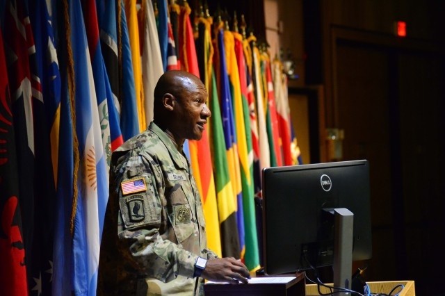 The U.S. Army Sergeants Major Academy welcomed the largest class, 713 students, in the history of the Academy August 28, during ceremonies held in its Cooper Lecture Center. Above, Command Sgt. Maj. Jimmy J. Sellers, commandant of USASMA welcome the class to the Academy and El Paso, Texas. Class 68 also includes the largest contingent of international students, 59, representing 46 partner nations.