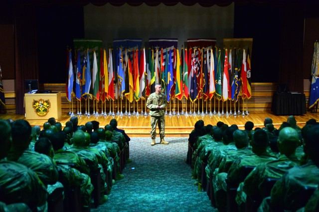 The U.S. Army Sergeants Major Academy welcomed the largest class, 713 students, in the history of the Academy August 28, during ceremonies held in its Cooper Lecture Center. Above, Command Sgt. Maj. David Turnbull, command sergeant major of the Combined Arms Center and Fort Leavenworth, Kansas, addresses the class as the events guest speaker. Class 68 also includes the largest contingent of international students, 59, representing 46 partner nations.