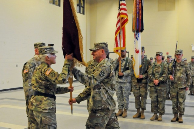 U.S. Army Reserve Col. Scott Lynn, outgoing commander of the Southeast Medical Area Readiness Support Group, relinquishes command to Col. Bradley Nindl, the new commander for SE-MARSG headquartered in Nashville, Tenn., during a Change of Command ceremony held on Saturday, August 26, 2017.  The Change of Command ceremony symbolizes the continuation of leadership and unit identity despite the change of individual authority.  It also represents the transfer of power from one leader to another; passing the ceremonial flag from outgoing to incoming commander is a physical representation of that transfer.