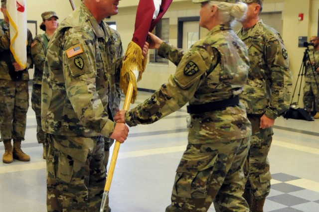 U.S. Army Reserve Col. Bradley Nindl assumed command of the Southeast Medical Area Readiness Support Group from Col. Scott Lynn, the outgoing commander, during a Change of Command Ceremony presided over by Army Reserve Medical Command commanding general, Maj. Gen. Mary Link, held on Saturday, August 26, 2017 in Nashville, Tennessee.  The Change of Command ceremony symbolizes the continuation of leadership and unit identity despite the change of individual authority.  It also represents the transfer of power from one leader to another; passing the ceremonial flag from outgoing to incoming commander is a physical representation of that transfer.