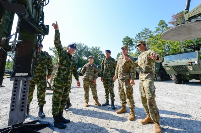 Colombian Army engineers learn about the dry support bridge, bridging equipment from U.S. Soldiers assigned to the 125th Multi Role Bridge Company, South Carolina Army National Guard, at Clarks Hill Training Center, S.C., Aug. 23, 2017.  The Colombian visit is part of the State Partnership Program with the Republic of Colombia, where subject matter experts are shared between the countries.