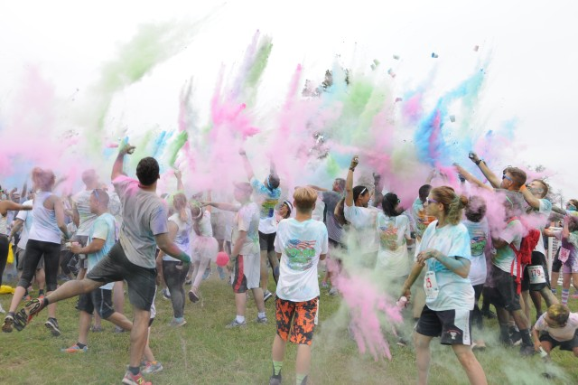 Runners take part in the post-race color explosion at the 2017 Fort Rucker Color Run Aug. 26.