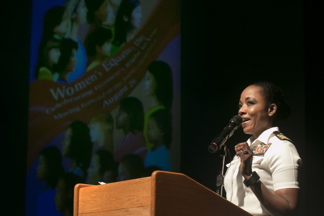 Keynote speaker, Cmdr. Sonya Waters, officer-in-charge at Navy Cmdr. Sonya Waters, officer-in-charge for U.S. Navy Branch Health Clinic-Atsugi, reflects on prominent women in history during her speech at the Women's Equality Day Observance held Aug. 24, 2017 at Camp Zama's Community Recreation Center. (U.S. Army photo by Honey Nixon)