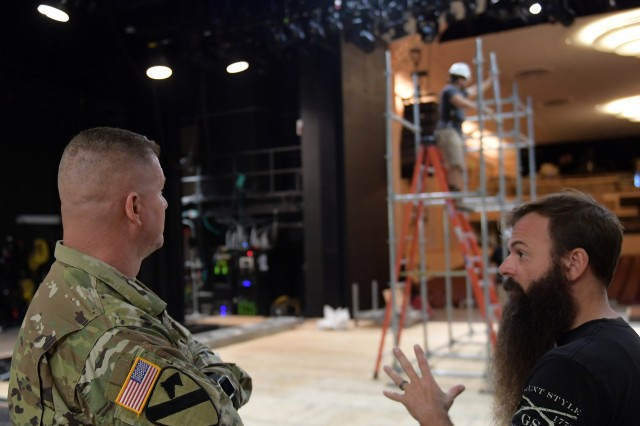 Command Sgt. Maj. Mike Hatfield of U.S. Army Installation Management Command watches contractors build a Battle Rig for the 2017 BOSS Strong Championship while receiving a briefing from Steve Smith of Army Entertainment on Oct. 28 at Fort Sam Houston Theatre. The BOSS Strong Championship is scheduled for Sept. 11-24 at various locations around The Alamo City, including Fort Sam Houston, Camp Bullis and Retama Park.