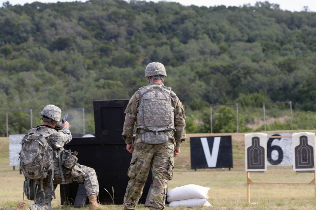 Spc. Kyle Noonan of Army North shoots through the stress shoot portion of the combat lanes in 2017 Joint Base San Antonio Best Warrior Competition on Aug. 1 at Camp Bullis, Texas. The stress shoot event also will be part of the 2017 BOSS Strong Championship, scheduled for Sept. 11-14 in San Antonio.