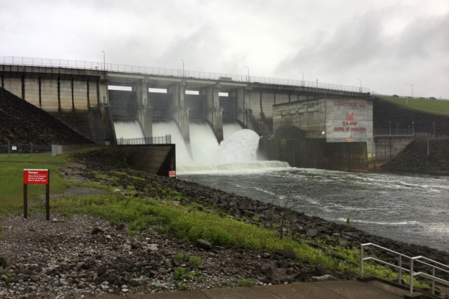 J. Percy Priese Dam in Nashville, Tenn., is spilling Aug. 31, 2017 to recover additional storage capacity as the remnants of Hurricane Harvey approaches the region.
