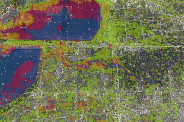 Google Earth represenation of hurrican Harvey influence on the Houston area. (Courtesy Google Earth)