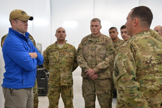 POWIDZ AIR BASE, Poland - The Honorable Ryan McCarthy, Acting Secretary of the Army; speaks with Soldiers from the 1st Attack Reconnaissance Battalion, 501st Aviation Regiment, 1st Armored Division Combat Aviation Brigade. McCarthy remarks on the importance of preserving the 'long standing body of the NATO Alliance.' He also commented on national objectives and expresses appreciation for the service of the Soldiers. The 1-501st supports 10th CAB through Operation Atlantic Resolve, a U.S. endeavor to fulfill NATO commitments by rotating units throughout the European theater. (U.S. Army photo by Sgt. Shiloh Capers)