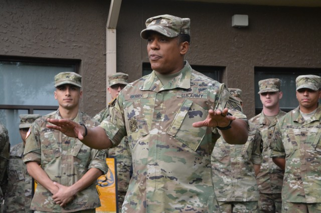 Command Sgt. Maj. Michael L. Berry, who from January 2016 until late August served as senior enlisted leader for U.S. Army Garrison Area I, talks to Soldiers on Camp Red Cloud in Uijeongbu in September, 2016. Berry, a career infantryman and Ranger and former drill sergeant, has moved to a new assignment as Commandant of the U.S. Army Drill Sergeant Academy at Fort Jackson, S.C.