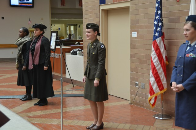 Service members dressed up in period costumes to represent four prominent women in our history -- Dr. Mary Walker, Harriet Tubman, Col. Oveta Hobby and Maj. Gen. Jeanne Holm. Brooke Army Medical Center's celebrated Women's Equality Day at the medical center Aug. 30.