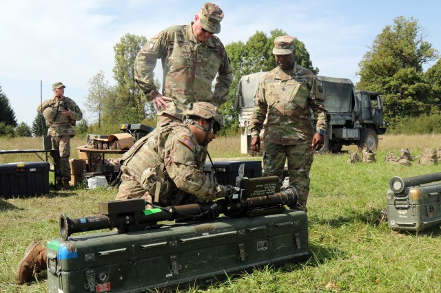 Grafenwoehr, Germany (Aug. 29, 2017) - The Air Defense Artillery Commandant, Brig. Gen. Randall McIntire and the Regimental Command Sgt. Maj. Finis Dodson, visit students in the M-Stinger course. Instructors from the Air Defense Artillery Center and School at Fort Sill, Oklahoma, teach maneuver Soldiers how to conduct short-range air defense operations at the 7th Army Training Command's Grafenwoehr Training Area, from July 31 to Sept. 1, 2017.