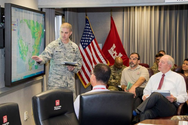 The U.S. Army Corps of Engineers is leaning forward in partnership with local, state, and federal response in preparation for Hurricane Irma. The Corps currently has engaged personnel and are operating in coordination with county, state, and FEMA Federal Emergency Management Agency partners. Their number one priority continues to be life, health, safety of all personnel who will be potentially affected by Hurricane Irma. Shown here, staff in Washington D.C. review the latest information about the ongoing storm and existing Harvey response, and teleconference with teammates around the nation on Sept. 6, 2017.