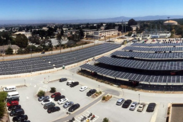 PRESIDIO OF MONTEREY, California -- An examples of the Presidio of Monterey's Directorate of Public Works energy savings measures at Building 4385 is the new solar array.