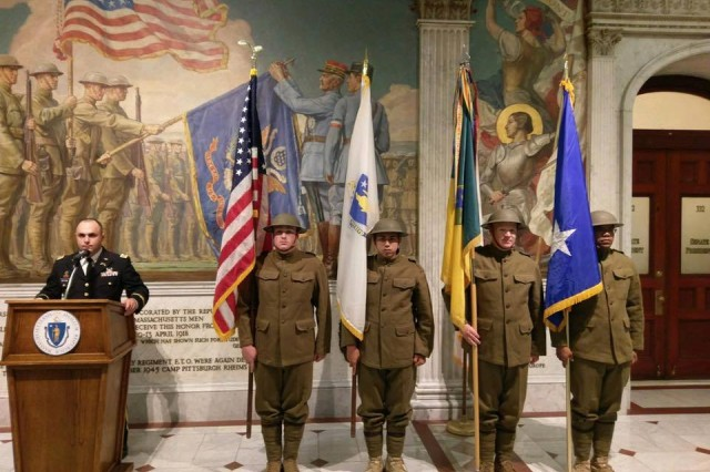 Members of the Massachusetts National Guard celebrated the 100th Anniversary of the 26th Infantry Division, nicknamed the Yankee Division, during a ceremony in Boston, Mass. on August 22.