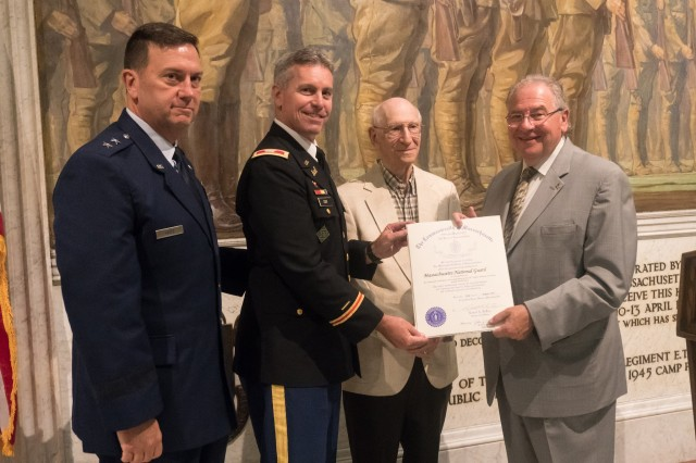 The Massachusetts National Guard's Adjutant General Maj. Gen. Gary Keefe, and other members of the MANG celebrated the 100th Anniversary of the 26th Infantry Division, nicknamed the Yankee Division, during a ceremony in Boston, Mass. on August 22.