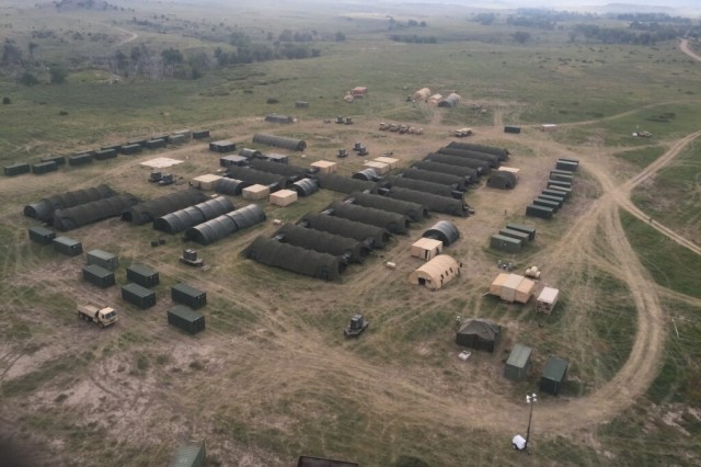 An aerial view of the 10th Field Hospital and augmentation detachments set up at Fort Carson, Colorado, for training September 2017.