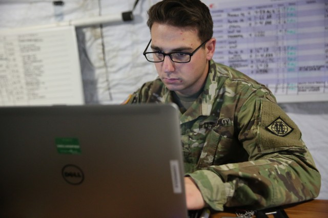 U.S. Army Sgt. Joseph Cortese, the Network Operations noncommissioned officer in charge assigned to Charlie Company, 44th Expeditionary Signal Battalion, 2nd Theater Signal Brigade, monitors the status of network and the unit's signal assemblages supporting the reception, staging, onward movement and integration, or RSOI, process for regionally allocated forces deploying into and out of the European theater for Operation Atlantic Resolve, Sept. 9, 2017 near Zagan, Poland. In addition to the RSOI mission, Cortese is monitoring assemblages in three other countries providing communications support to Operation Atlantic Resolve and exercise Bayonet Shield.