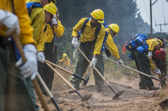 U.S. Army Soldiers, assigned to 23rd Brigade Engineer Battalion, 1-2 Stryker Brigade Combat Team, complete initial tactical training with civilian firefighters working with the U.S. Forest Service in the Umpqua National Forest, Umpqua North Complex, Oregon, Sept. 8. The Soldiers learned how to construct a fireline, which is made using hand tools to cut, scrape or dig in order to remove brush and debris that might fuel the spread of the fire. (U.S. Army photos by Pvt. Adeline Witherspoon, 20th Public Affairs Detachment)