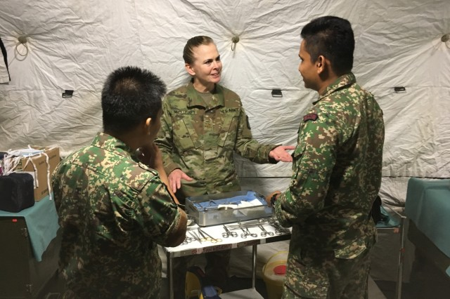 Maj. Beth McCluskey, perioperative nurse, 848th Forward Surgical Team, explains surgical procedures to Malaysian Armed Forces counterparts during a forward surgical subject matter expert exchange that took place in Mentakab, Malaysia, August 11-15, 2017.