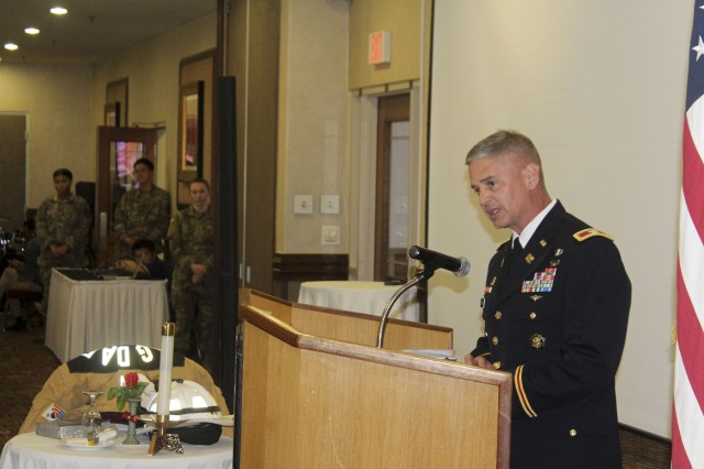 Col. Robert P. Mann Jr. gives his remarks during the 9/11 Remembrance Luncheon, Sept. 8, 2017 at the Camp Walker Evergreen Club.