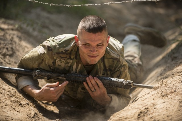 A Soldier practices drills during basic training. The annual Drill Sergeant of the Year competition will take place this year at Fort Leonard Wood, Missouri, from Sept. 12-15. The competitors will take part in a variety of basic training activities as part of the competition.