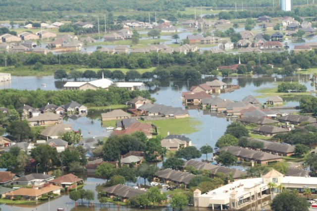 An aerial view of areas affected by Hurricane Harvey in Beaumont, Texas, Sept. 1, 2017. Hurricane Harvey is the first major Hurricane to make landfall over the United States in over a decade.