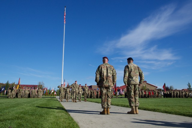 Soldiers of 4th Brigade Combat Team (Airborne), 25th Infantry Division, mark their impending deployment to Afghanistan during a Sept. 8, 2017, ceremony at Joint Base-Elmendorf-Richardson. The Spartan Brigade is the only brigade-size airborne unit stationed in the Pacific Theater. (U.S. Air Force photo by David Bedard)