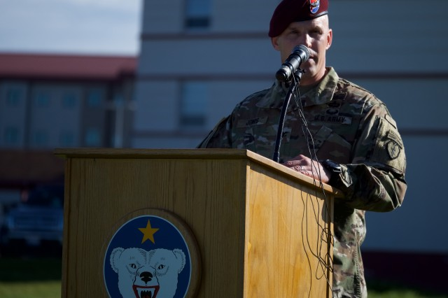 U.S. Army Col. Jason Jones, 4th Brigade Combat Team (Airborne), 25th Infantry Division commander, speaks to his unit and guests during a Sept. 8, 2017, Afghanistan deployment ceremony at Joint Base-Elmendorf-Richardson. The Spartan Brigade is the only brigade-size airborne unit stationed in the Pacific Theater. (U.S. Air Force photo by David Bedard)