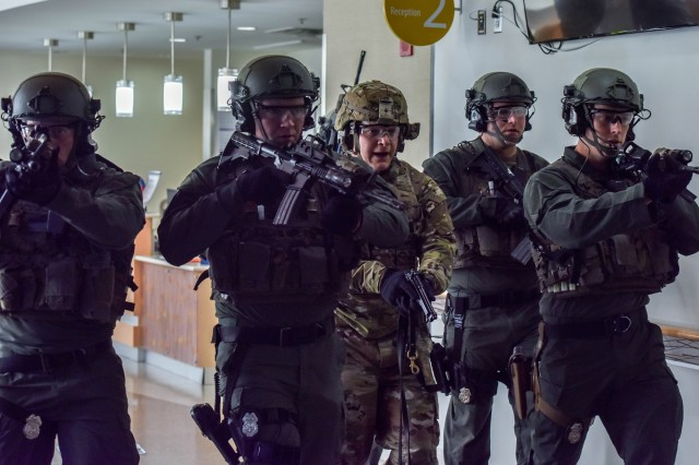 Soldiers and civilian first responders from the Joint Force Headquarters-National Capital Region and the U.S. Army Military District of Washington participate in Capital Shield 2017 at Fort Belvoir Community Hospital, Fort Belvoir, Va., Sept. 8, 2017.