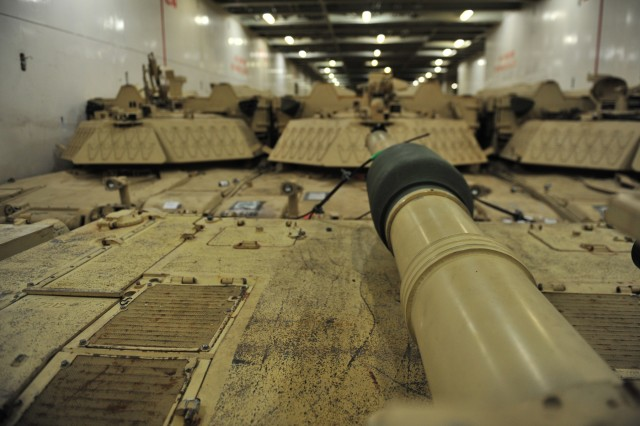 Tanks from 2nd Armored Brigade Ccombat Team, 1st Infantry Division, fill the ARC Endurance from wall to wall before they are unloaded at the Port of Gdansk, Poland, Sept. 13, 2017. More than 1,000 peices of equipment arrived for the unit to take over support of Atlantic Resolve from 3rd Armored Brigade Combat Team, 4th Infantry Division, which has been in Europe for nine months. (U.S. Army photo by Sgt. 1st Class Jacob A. McDonald, 21st Theater Sustainment Command)
