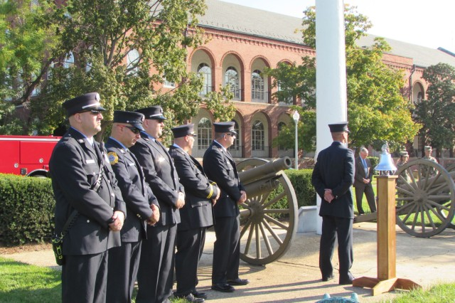 Firefighters from Joint Base Myer-Henderson Hall participate in the Military District of Washington's Sept. 11 observance at Fort Lesley J. McNair on the 16th anniversary of the terrorist attacks.