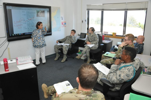 Josephine Petkovski teaches a Korean class Aug. 7 at the Defense Language Institute Foreign Language Center Asian School II, better known as the Korean School. She is also an alumnus of the Institute where she now teaches, having graduated from the Chinese Mandarin course in 2004. (U.S. Army photo by Patrick Bray/Released)