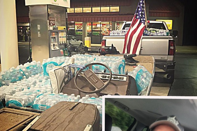 Mark Ward, engineer technician who works in the facility management department at Ireland Army Health Clinic on Fort Knox, sent a quick photo home to his family and friends so they could see he was OK. The truck, and literally a boat load, of supplies were ones that were donated by people from around the Rineyville/E'town area. Once he got to Texas he bought more of whatever he could find. The load included gas for his boat.