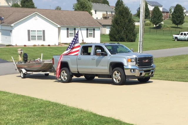 """After Ward's odyssey, his wife Sarah posted a photo to Facebook that said simple, """"he made it home!"""" Later he posted this about the flag on his truck: """"This is my flag that proudly flew over top of so many donated items in the bed of my truck on the way down to help Texas. In a way, it reminds me of how great our country is… I've seen some of the most selfless acts of kindness, generosity, and love than I can ever remember. Just like Texas, a portion of my flag has taken a beating and become tattered, but it's in the strength of the rest of the threads that keep this flag strong and helps this retain its beauty.... just as there are many strong threads down here still holding this great country together..."""""""
